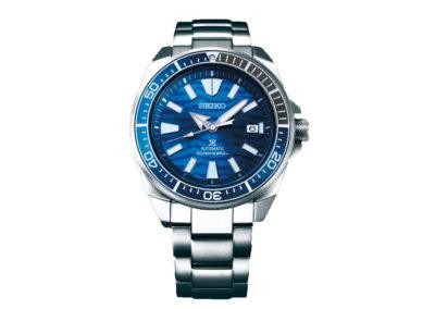 seiko SRPD23K1 Collezione save the Ocean in edizione limitata; quadrante in varie tonalità di blu, raffigurante le onde del mare; cassa e bracciale in acciaio.